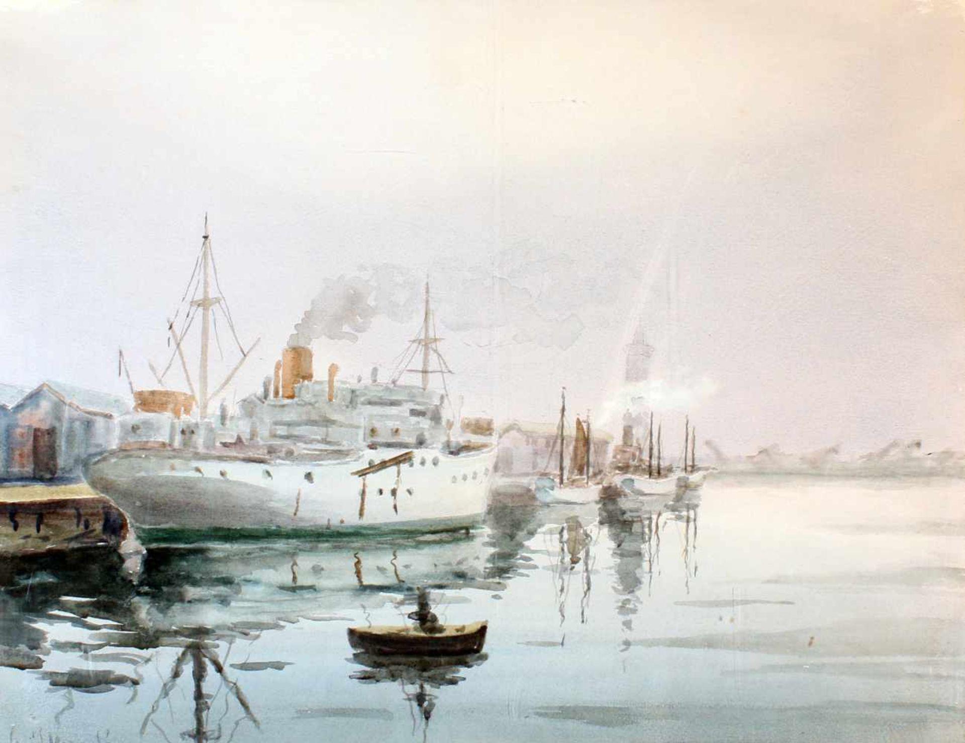 """Dampfer im Hafen"" - David Mercadé Recasens (20. Jahrhundert)Aquarell auf Papier, unten links"