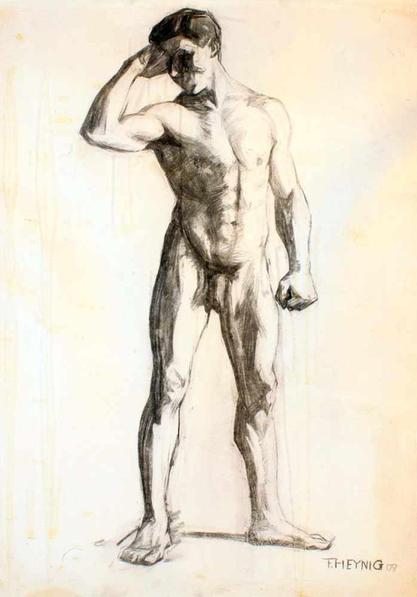 """2 Zeichnungen """"Männerakt"""" - Felix Heynig (1888-1950)1.) Kohlezeichnung, unten rechts signiert und - Bild 2 aus 5"""