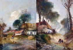 2 impressionistische Gemälde - Bauernhöfe um 1910Beide Gemälde Öl auf Leinwand, vom selben Maler,
