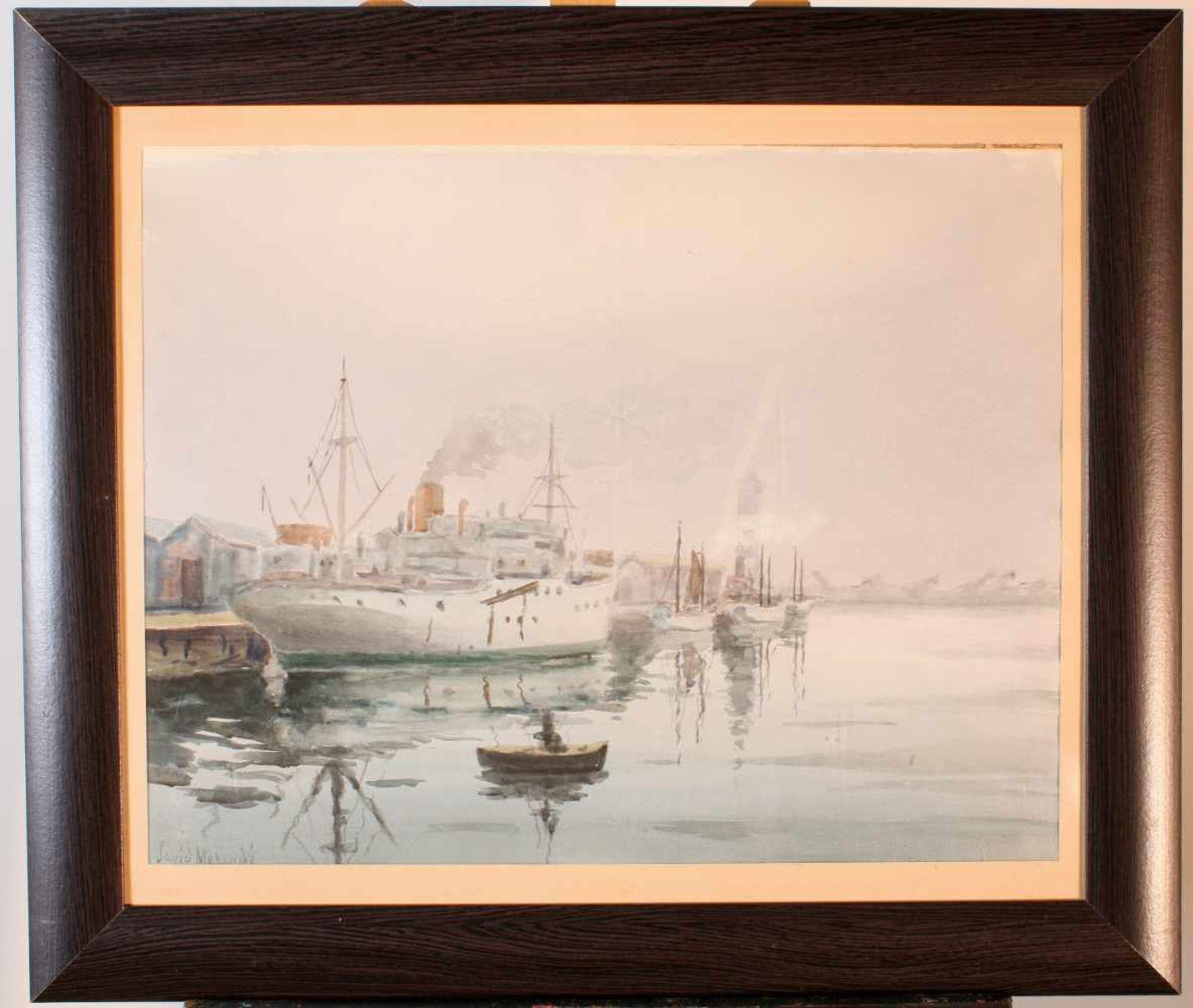 """Dampfer im Hafen"" - David Mercadé Recasens (20. Jahrhundert)Aquarell auf Papier, unten links - Bild 2 aus 3"