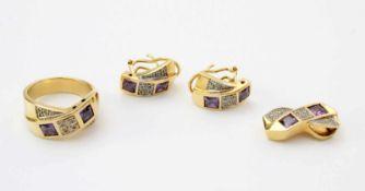 Gelbgold Schmuckset - Ring, Anhänger, Ohrringe mit Amethyst und BrillantenGG 750, Design: 2 sich