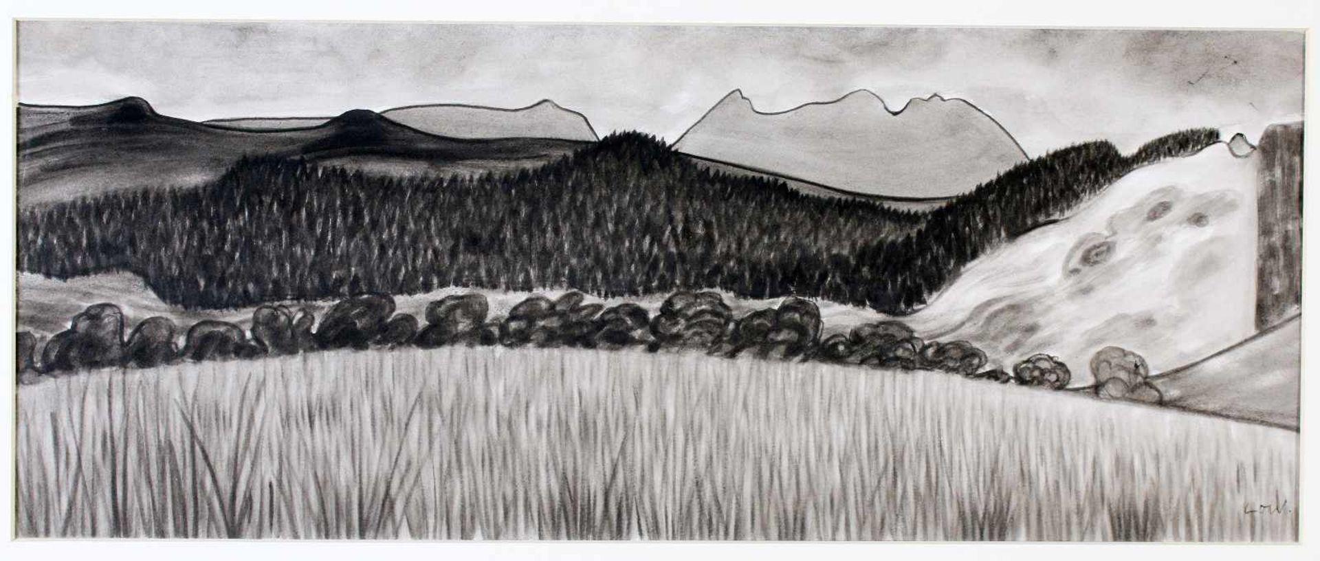 """""""Scottish Landscape"""" - Bet Low (1924-2007)Aquarell auf Papier, schottische Landschaft, unten"""