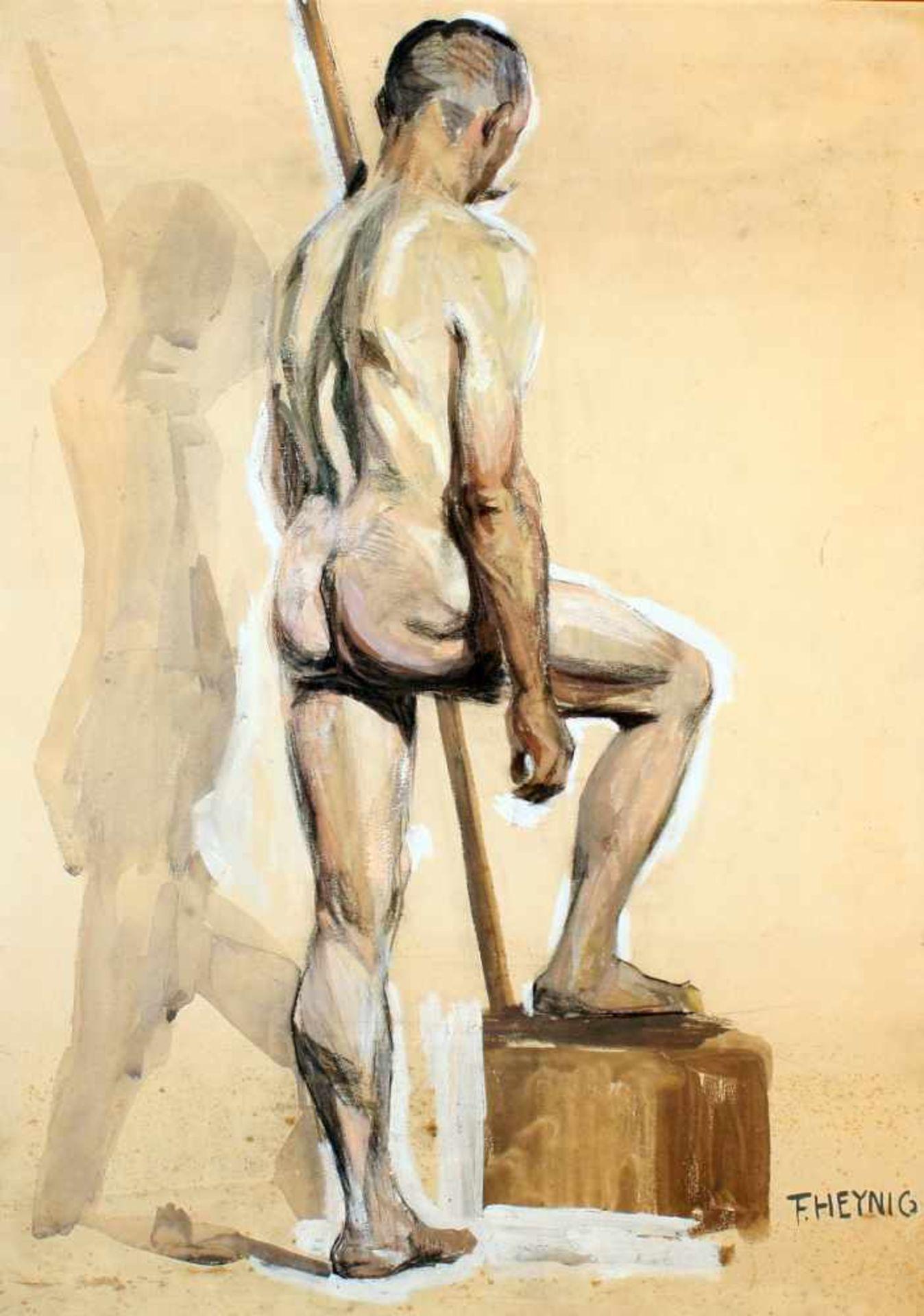 """2 Zeichnungen """"Männerakt"""" - Felix Heynig (1888-1950)1.) Kohlezeichnung, unten rechts signiert und - Bild 4 aus 5"""