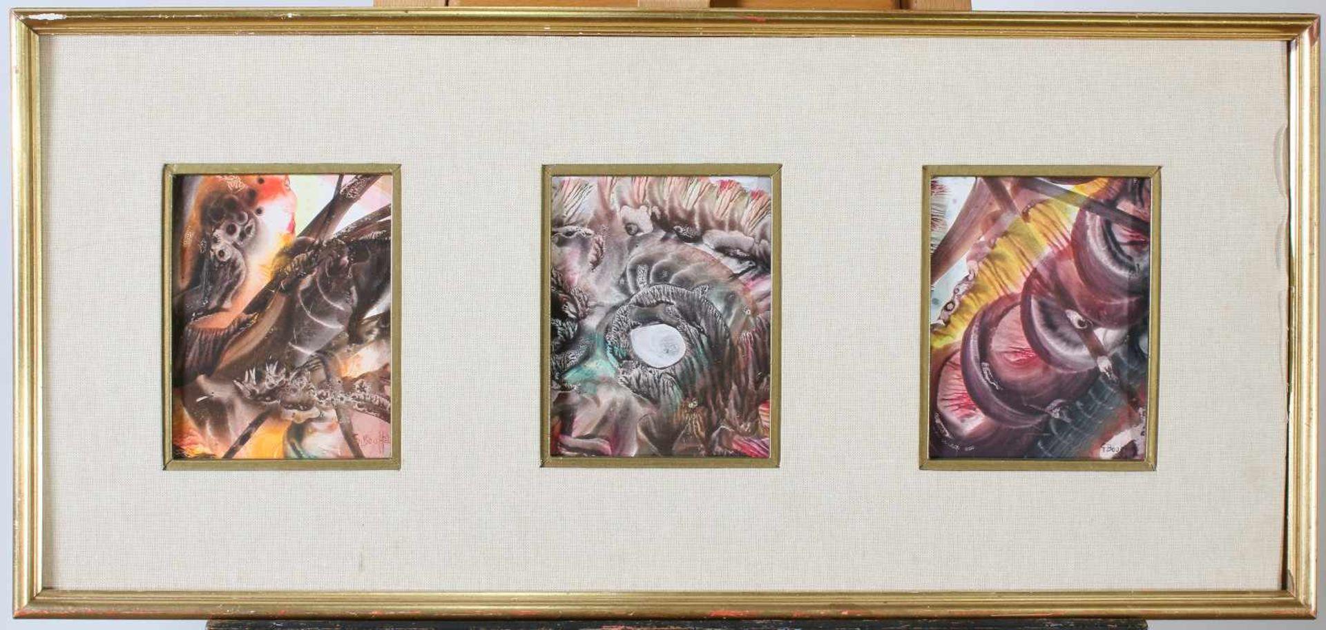 "Triptychon - Gabrielle Bouffay (*1930)Aquarell / Deckfarben, signiert ""G. Bouffay"". Maße je Bild: 12 - Bild 2 aus 2"