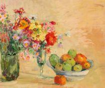 """""""Stillleben - Blumen und Früchte"""" - Minna Köhler-Roeber (1883-1957)Öl auf Platte, rückseitig"""