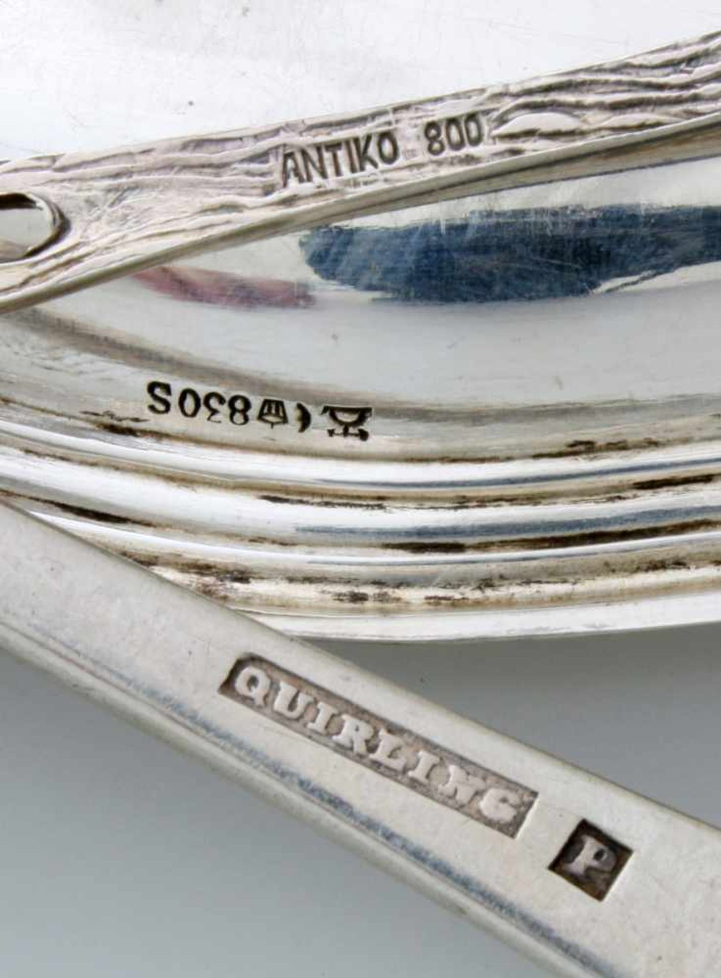 "Silbertablett und 5 Teile SilberTablett 830er Silber, graviert ""Lex Verden Kriegsjagd 6.6.40"", - Bild 4 aus 4"