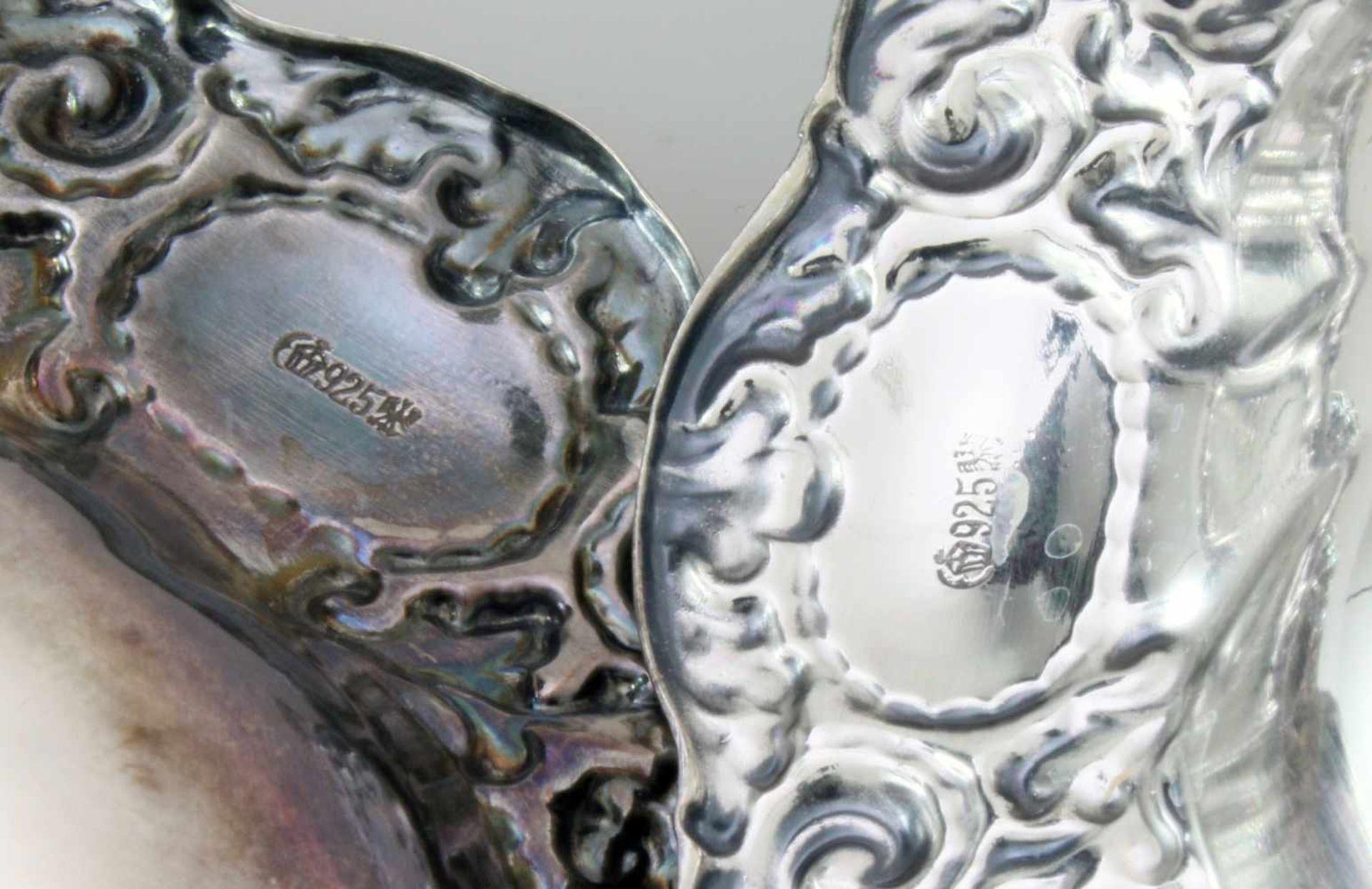 2 silberne Schälchen925er Silber, geschwungener und gedrückter Rand mit Jugendstilzier, Ø 12 und - Bild 2 aus 2