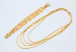 Gelbgold-Collier und passendes ArmbandGG 750, Collier aus 4 flexiblen Plattenbändern, Oberfläche