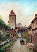 """Kobolzeller Tor in Rothenburg o. d. Tauber"" - M. Wimmer - um 1900Öl auf Leinwand, unten links"