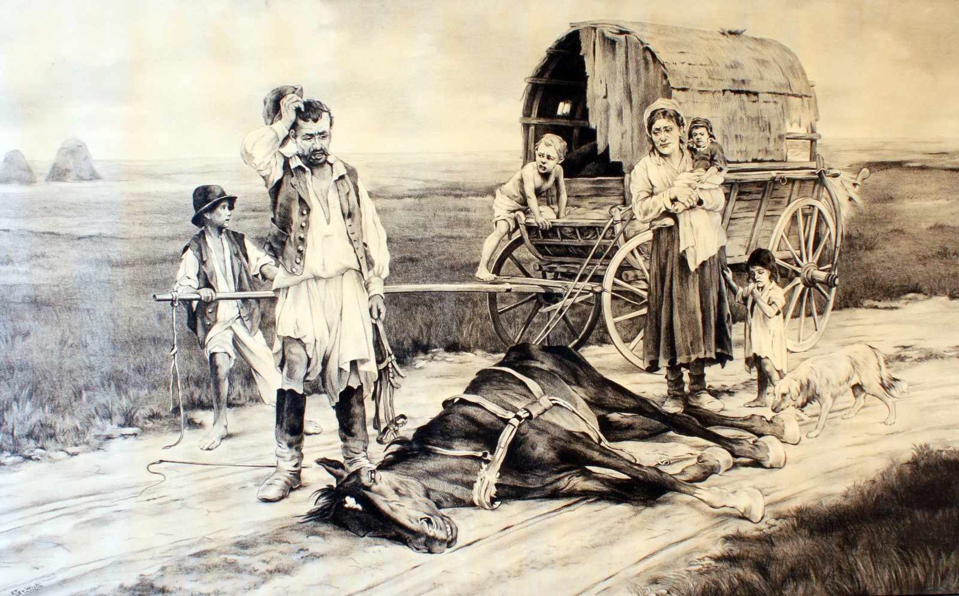 """""""Sterbendes Pferd"""" - G. van Wijk (20. Jahrhundert)Kohlezeichnung, Familie mit Planwagen in"""