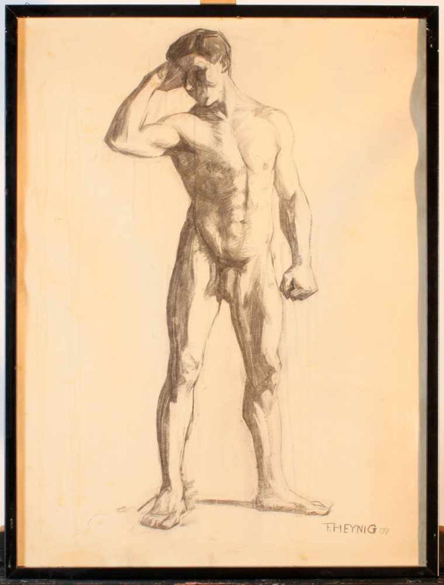 """2 Zeichnungen """"Männerakt"""" - Felix Heynig (1888-1950)1.) Kohlezeichnung, unten rechts signiert und - Bild 3 aus 5"""
