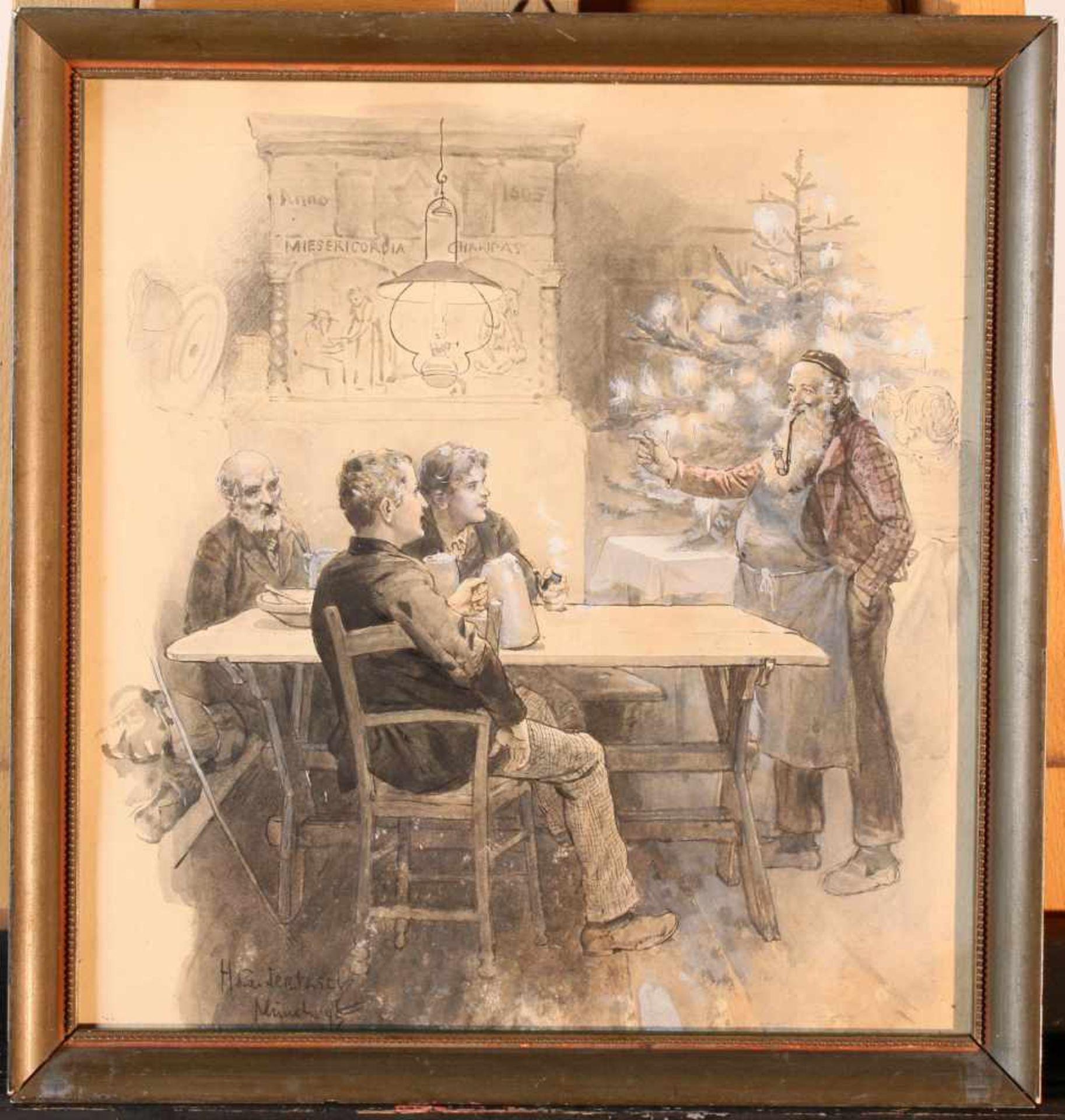 """""""Wirtshausszene zu Weihnachten"""" - Hans Gabriel Jentzsch (1862-1930)Zeichnung / Aquarell, weiß - Bild 2 aus 2"""