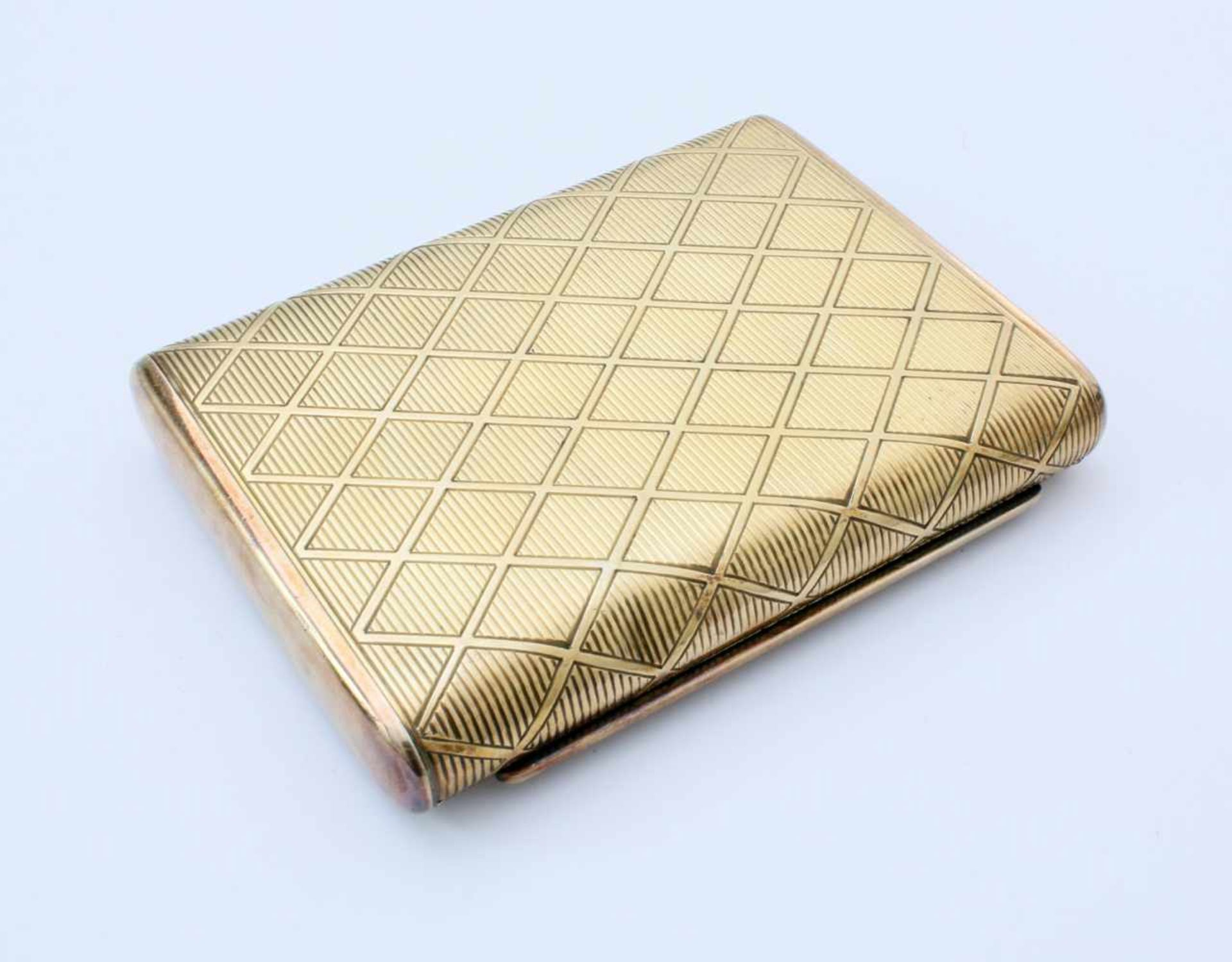 Silbernes und vergoldetes Zigarettenetui925er Silber, Hersteller wohl Gideon Bek, Pforzheim (