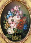 """""""Blumenstillleben"""" - Luisa da Pordenone - 20. JahrhundertÖl auf Kupferplatte, rechts signiert,"""