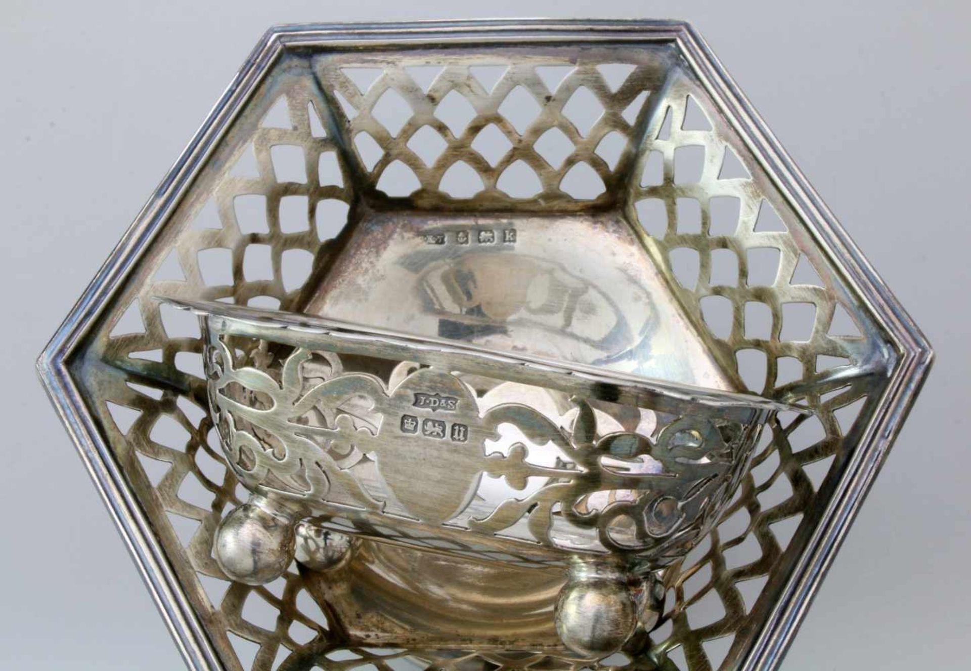 2 englische Silberschälchen - 19. JahrhundertBeide 925er Silber. 1x Birmingham, durchbrochene - Bild 2 aus 2
