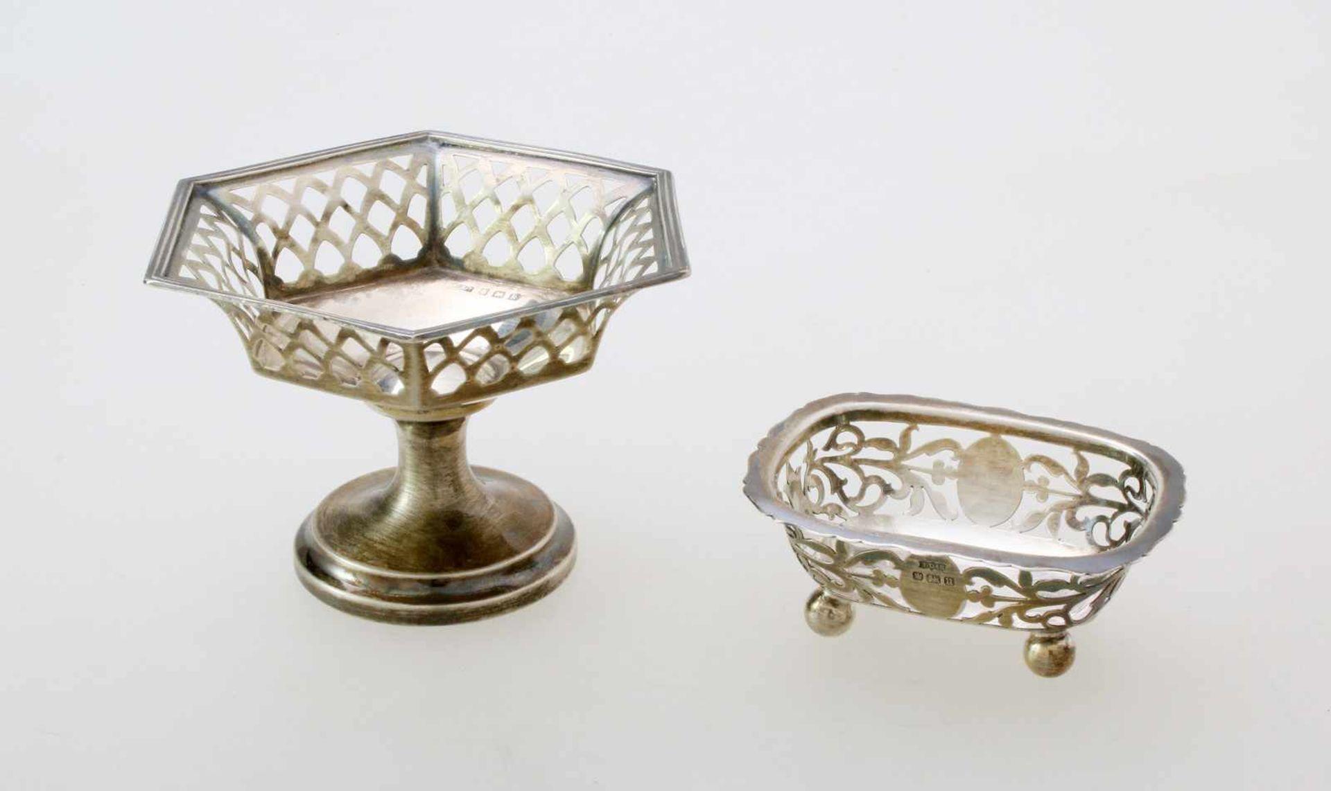 2 englische Silberschälchen - 19. JahrhundertBeide 925er Silber. 1x Birmingham, durchbrochene