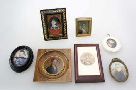 Miniaturmalereien u.a. - 20. Jahrhundert7 Teile. 1x Portrait Ludwig van Beethoven, Gouache auf