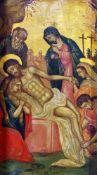 """Kreuzabnahme Christi"" - Ikonenmalerei - 19. JahrhundertÖl auf Holz, teilweise goldstaffiert,"