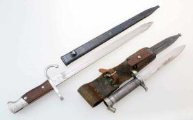 Schweden / Argentinien - 2 Bajonette1x Argentinien Bajonett M1909. Gekehlte Rückenklinge,
