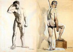 """2 Zeichnungen """"Männerakt"""" - Felix Heynig (1888-1950)1.) Kohlezeichnung, unten rechts signiert und"""