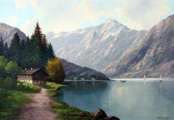 """""""Bergsee"""" - Franz Otto Wieduwilt (19. / 20. Jahrhundert)Öl auf Leinwand, unten rechts signiert und"""