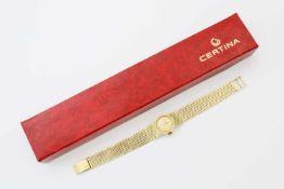Certina Damenuhr AutomatikAutomatikwerk 15-20, Gehäuse (Ø 17,5 cm) und Segment-Band GG 585,