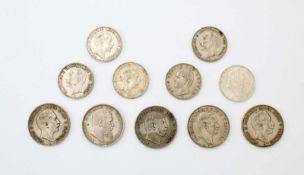 11 Silbermünzen Kaiserreich 5 und 3 Mark5 Mark: 2x Wilhelm II. (A1903 + 1904); Wilhelm I. (B1875);