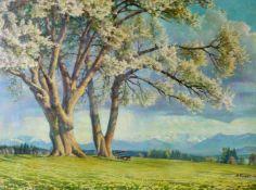 """""""Blühende Kirschbäume am Starnberger See"""" - Arthur Griehl (1879-1955)Öl auf Leinwand, unten rechts"""