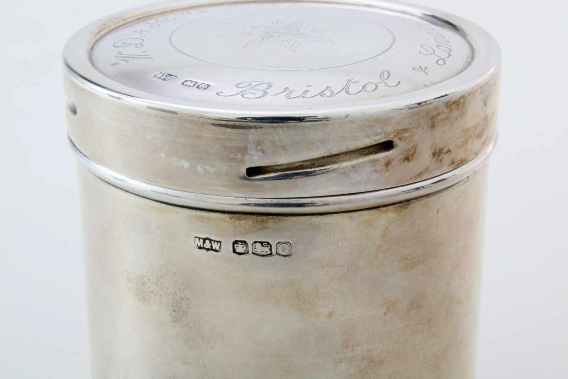 """Silberne Teedose - England 1881Hersteller Mappin & Webb, Sheffield, 925er Silber, Dateletter """"O"""" für - Bild 3 aus 3"""
