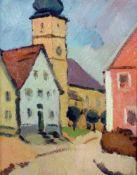 """""""Kirchplatz und Kirche mit Zwiebelturm in Pottenstein"""" - Hans Zank (1889-1967)Öl auf Karton,"""