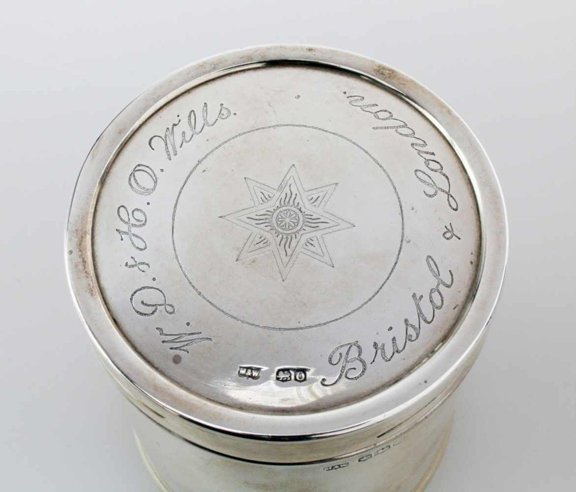 """Silberne Teedose - England 1881Hersteller Mappin & Webb, Sheffield, 925er Silber, Dateletter """"O"""" für - Bild 2 aus 3"""