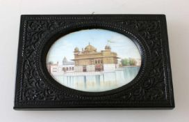 """Indien - Miniaturmalerei """"Goldener Tempel von Amritsar""""Sehr detailliert in der Ausführung. Der"""