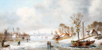 """""""Holländische Winterlandschaft"""" - J. May - 20. JahrhundertÖl auf Holz, rechts unten signiert, im"""