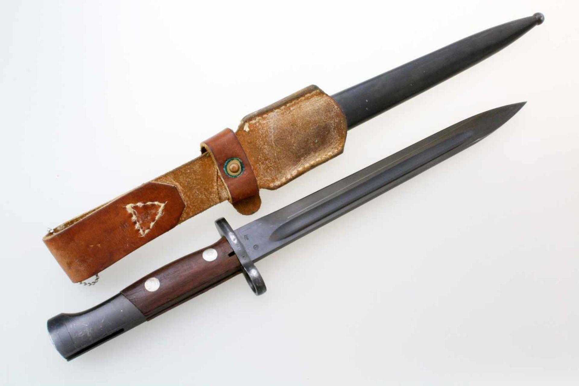 """Jugoslawien - Messerbajonett Mauser 24/44/48Gekehlte Rückenklinge, Herst. """"Preduzece"""" über 44 auf - Bild 2 aus 4"""