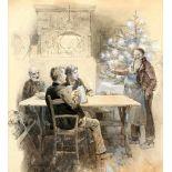 """""""Wirtshausszene zu Weihnachten"""" - Hans Gabriel Jentzsch (1862-1930)Zeichnung / Aquarell, weiß"""
