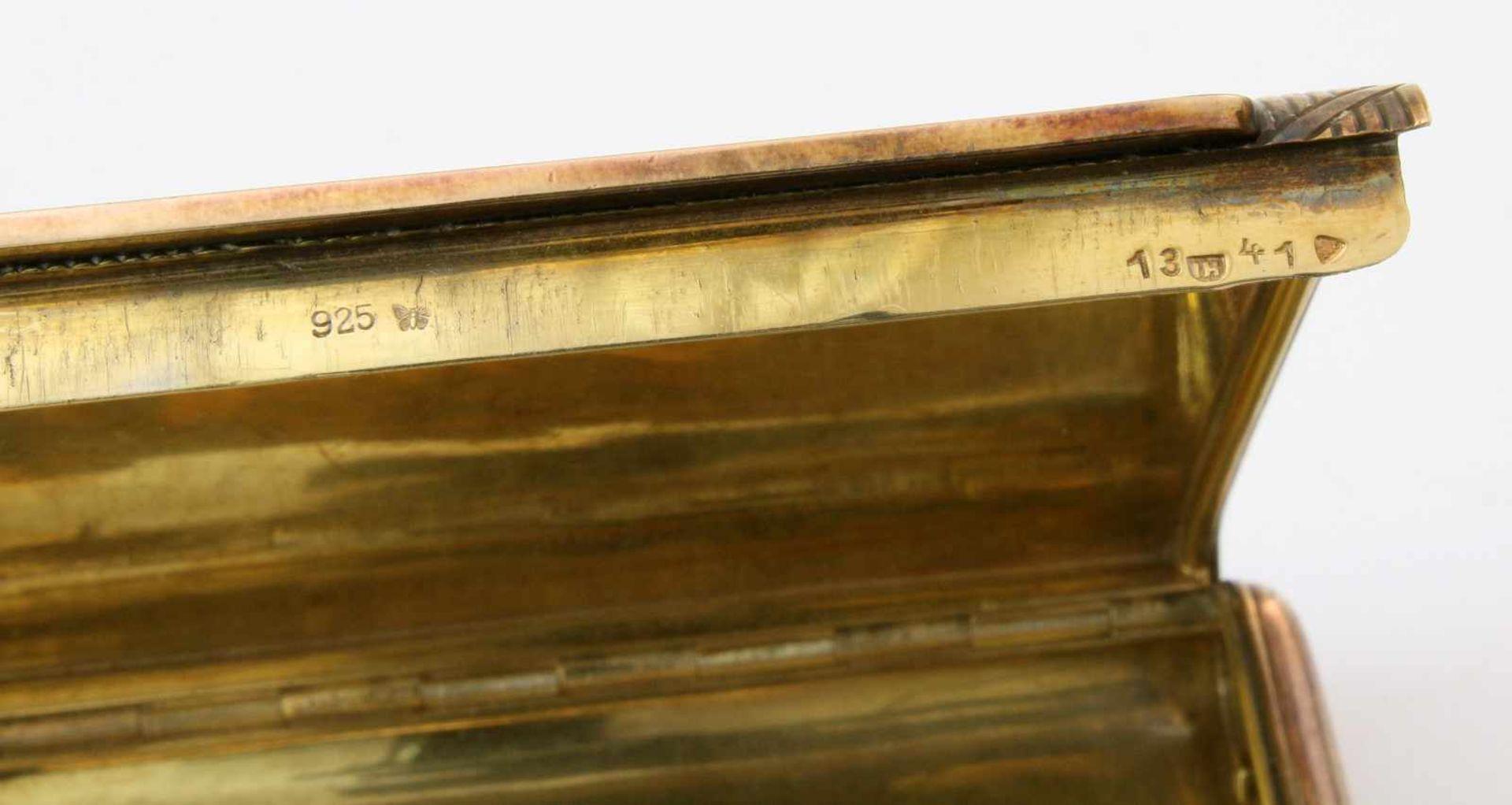 Silbernes und vergoldetes Zigarettenetui925er Silber, Hersteller wohl Gideon Bek, Pforzheim ( - Bild 3 aus 3