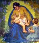 """""""Mutter und Kind"""" - Hans Christiansen (1866-1945)Pastell auf Karton, unten links monogrammiert,"""