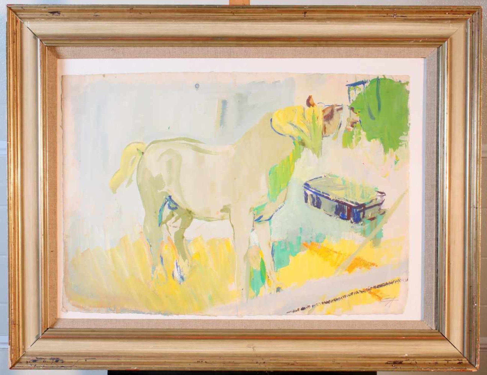 """""""Pferd an der Heutraufe"""" - Eduard Aigner (1903-1978)Aquarell auf dickem Papier, unten rechts - Bild 2 aus 3"""