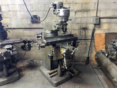 "Bridgeport 1Hp Vertical Milling Machine, Knee Type, 36"" x 9"" T-Slot Table with Power Cross Feed,"