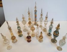 Collection of small decorative, hand-blown Egyptian glass perfume bottles (15)