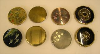 Collection of 8 vintage ladies metal compacts, some enamelled examples