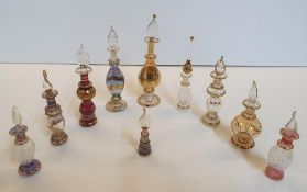 Collection of small decorative, hand-blown Egyptian glass perfume bottles (10)