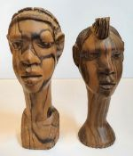 Pair of Nigerian wood carvings and a large ebony wood head carving lamp (no wiring), The pair
