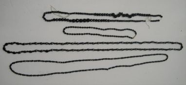 4 vintage Whitby jet ladies necklaces