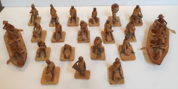 Collection of 20 Nigerian 1970s thorn-wood figure carvings (20)