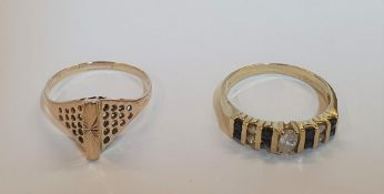 2 14ct yellow gold rings to include a Rose gold, unusual shaped ring and another set with Diamonds &