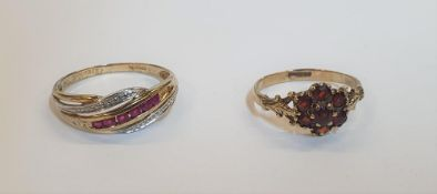 9ct yellow gold ring set with rows of diamonds and Ruby's together with a 9ct yellow gold Garnet