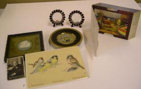 7 vintage collectables to include Villeroy & Boch ceramic plaque with birds, pop-up postcard, 1942