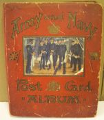 Early 20thC, Army & Navy postcard album (160+ postcards)