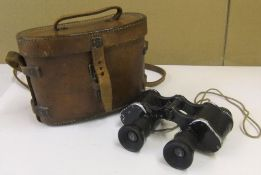 WW1 era leather cased binoculars